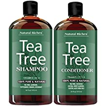 Sulfate free anti dandruff Tea-Tree-Oil Shampoo and Conditioner Set – Made with Therapeutic Grade Tea Tree Essential Oil - Deep Cleansing for Dandruff, Dry Scalp & Itchy Hair – Men & Women 2x16oz …