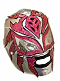 SOMBRA Lycra PRO Adult Lucha Libre Wrestling Mask (pro-LYCRA) Silver/Hot Pink
