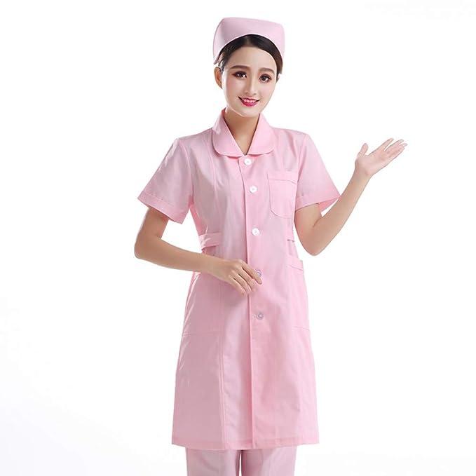 ESENHUANG Ropa Médica De Mangas Cortas para Mujeres Servicios Médicos Ropa De Enfermera Uniforme Algodón Hospital Enfermera Laboratorio Abrigo: Amazon.es: ...