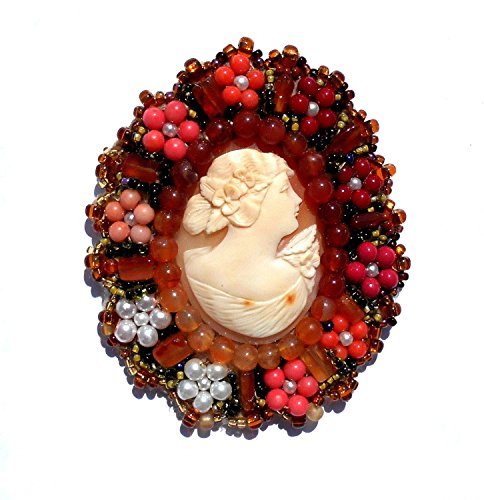 Vintage Hand Carved Large Shell Cameo, Flora, Goddess of Flowers w/ Carnelian, Coral, Glass, Faux Pearls Beads Surrounding Pendant Pin. ONE OF A KIND! ()