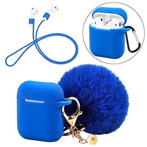 - Silicone Case Protective Cover Skin with Cute Pompom Ball Keychain Compatible for AirPods Charging Case - Shockproof Shell with D-Locking Carabiner Suitable for Airpod Accessories (Dark Blue)