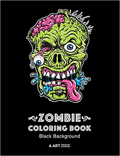 Zombie Coloring Book Black Background Midnight Edition Zombie