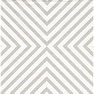 Entertaining with Caspari Cocktail Napkin, Chevron Pale Silver, Box of 40