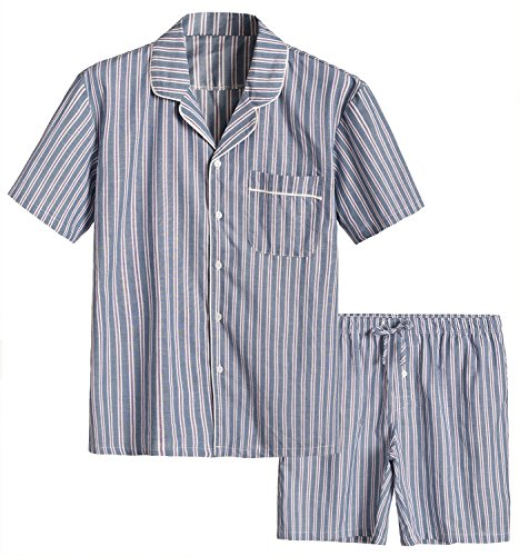 Latuza Men's Cotton Woven Short Sleepwear Pajama Set L Charcoal Stripe