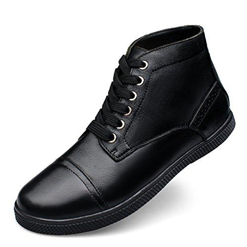 Mode Noir Faux Hommes Full Grain Cheville Cuir Haute Rismart Fourrure Bottes XwRnxgwOq