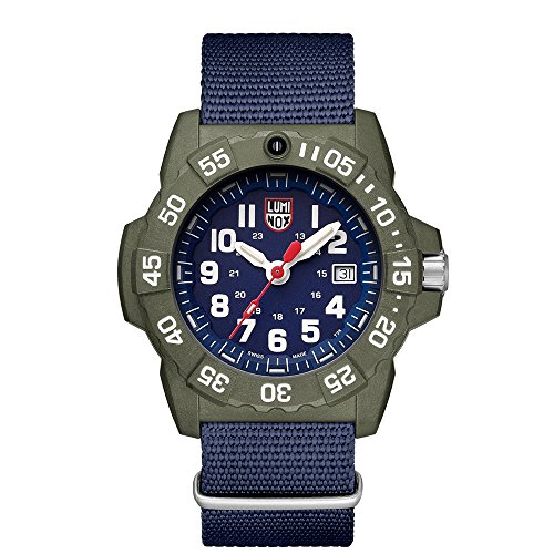 Luminox Men's 'SEA' Swiss Quartz Stainless Steel and Nylon Casual Watch, Color:Blue (Model: 3503.ND) ()
