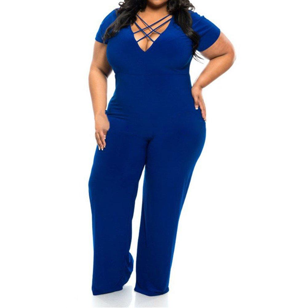 Better& Better Women Plus Size Strapped V-Neck Design Jumpsuit Romper Pants