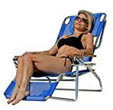 Ostrich 3 in 1 Beach Chair with Side Tray, Solid Blue