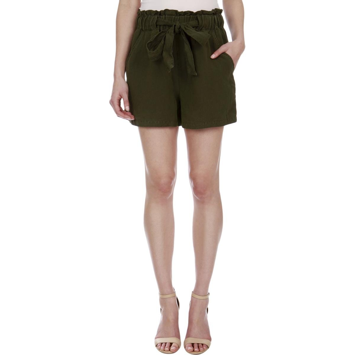 Lucky Brand Women's Tie Front Linen Short, Deep Depths, X-Large