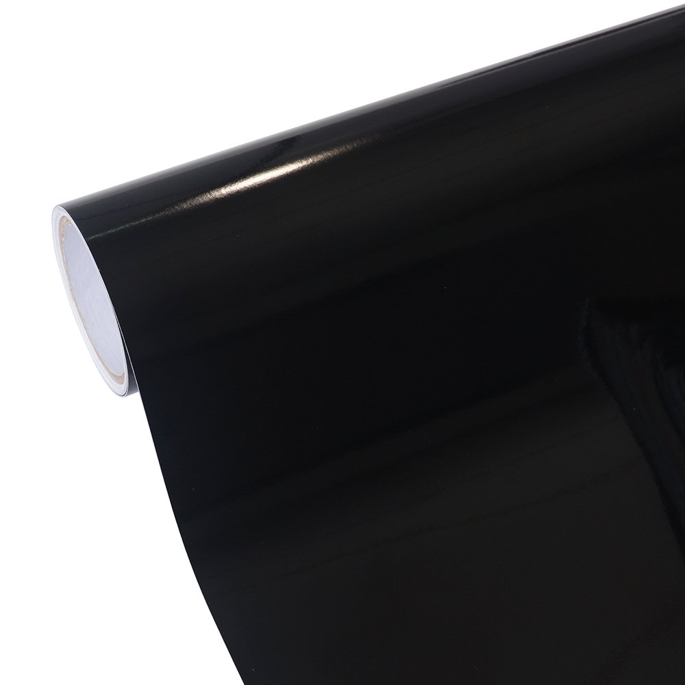 12''x10ft Glossy Black Adhesive-backed Vinyl Roll for Sign Plotters, Letters, Decals and Craft Cutters TECKWRAP 4336977017