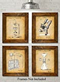 Original Science Lab Equipment Patent Art Prints - Set of Four Photos (8x10) Unframed - Great Gift for Scientist or Inventors