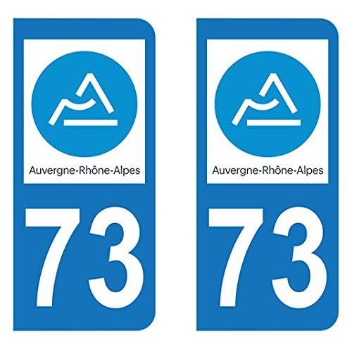 Paire Sticker immatriculation 73 - Nouveau logo Auvergne Rhône-Alpes