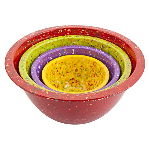 (Zak Designs Confetti Mixing Bowl - Confetti Assorted Nested Bowl - Set of 4 Bowls - Red, Green, Purple & Yellow - 1.25, 2.5, 4 quarts & 18 ounces.)