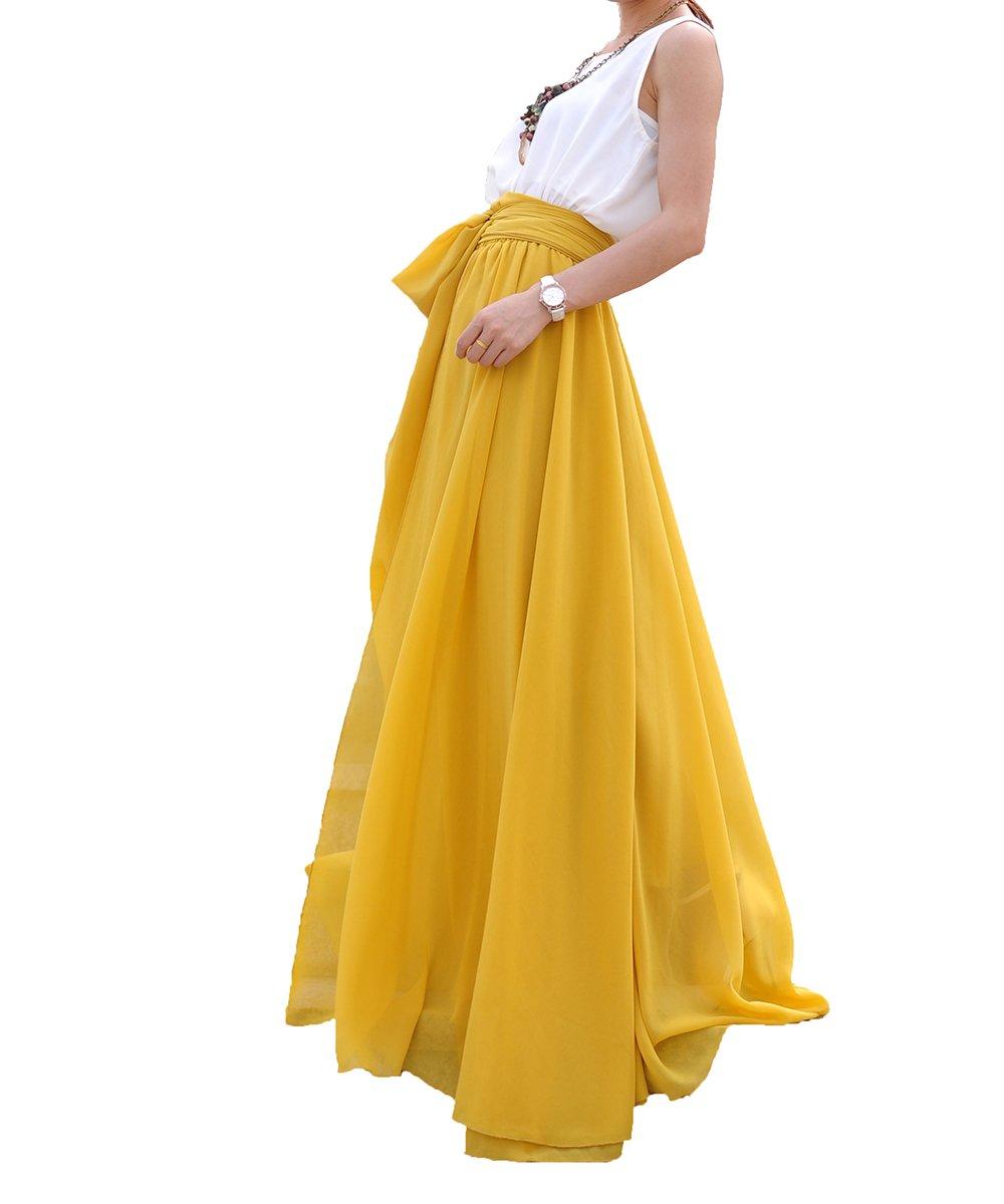 Melansay Women's Beatiful Bow Tie Summer Beach Chiffon High Waist Maxi Skirt XL,Mustard Yellow