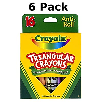 CRAYOLA LLC CRAYOLA TRIANGULAR CRAYONS 16 COUNT (Set of 6): Toys & Games