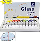 Magicdo® 12 Cols Glass Paint With Free Palette, Professional Glass Colour set, Quality Non-Toxic Paint on Glass, Multi-Surface Satin glass Craft Paint Set, 12 x 12ml , Rich Pigment