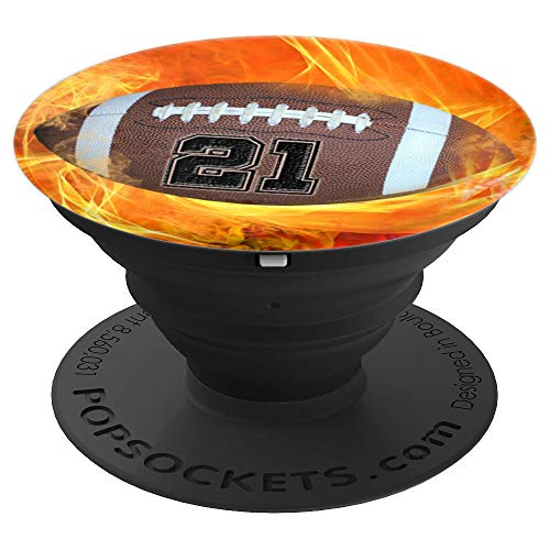 """American Football Number """"21"""" Lucky Number Flame - Football - PopSockets Grip and Stand for Phones and Tablets -  American Football Number 21 Phone Pop Art Gift, 260027"""