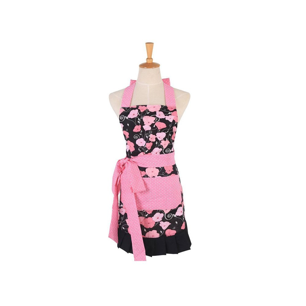 G2PLUS Cotton Kids Girls Apron with Pockets, Pink Morning Glory Floral Pattern Cooking Baking Apron for Children, Great Xmas Gift for Daughters Little Girls (Kid Girl Aprons) by G2Plus (Image #1)
