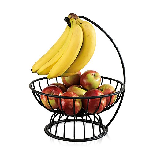 Black Wrought Iron Fruit and Vegetable Basket - For Kitchen Counters, with Banana Hanger (2 Separable - Stand Iron Wrought Basket
