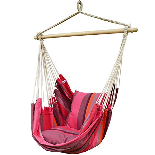 Prime Garden Pink Stripe Soft Comfort Hanging Hammock Chair For Indoor Outdoor Kids and Adults