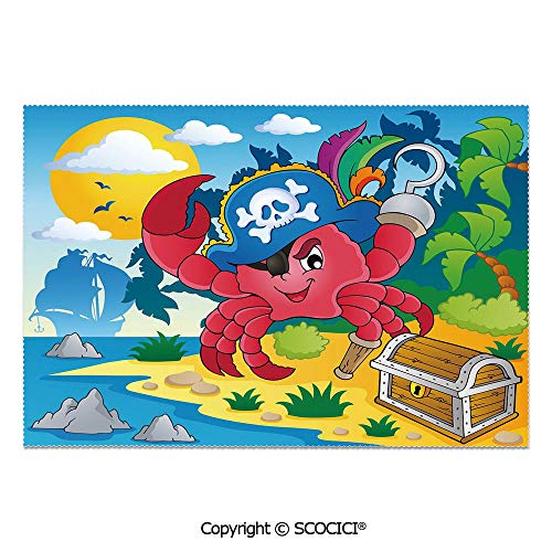 - SCOCICI Set of 6 Durable Polyester Place Mats Heat Resistant Table Mats Cute Cartoon Crab with Eye Patch Pirate Hat Hook Pegleg Deserted Island Coast Jungle Decorative for Party Kitchen Dining Table