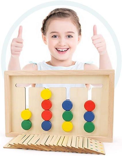 Ruiy de madera juguetes preescolares hijos, de cuatro colores juego de lógica for niños Pensando enfoque de capacitación a padres e hijos Juegos de mesa interactivo Rompecabezas Juguetes 2-3-6 Años de: Amazon.es: