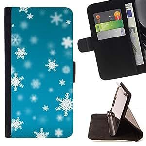 BLUE BRIGHT SNOW SNOWFLAKES WINTER/ Personalizada del estilo del dise???¡Ào de la PU Caso de encargo del cuero del tir????n del soporte d - Cao - For Apple Iphone 5 / 5S
