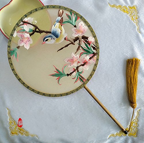 BAIXI Creative Chinese Wind Pure Handmade Suzhou Embroidery Palace Fan Embroidery Fan Embroidery Fan (Style (Wind Stabilizer)