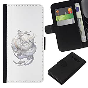 All Phone Most Case / Oferta Especial Cáscara Funda de cuero Monedero Cubierta de proteccion Caso / Wallet Case for Samsung Galaxy A3 // Dragon Silver Flying Mythical Creature Nature