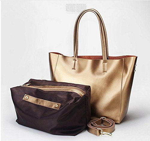Bag Gold Women's Tote Leather Shoulder Casual Ruiatoo Handbags Bag Roomy zFfHcq8gq