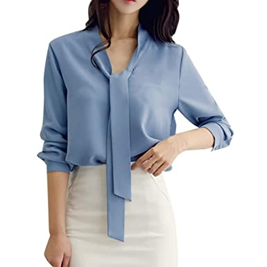 c8432a8dd18f0 Women s Solid Shirt Fashion Elegant Chiffon Casual Blouses Tops at ...