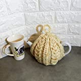 Cream Cable Hand knitted Tea cosy, handmade teacosie, fits a 2 - 4