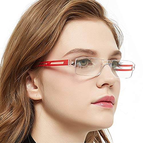 Rectangular Reading Glasses Rimless Men Women Comfort Prescription Eyeglasses (+100,+150,+200,+250,+300,+350,+400) (Red, 1.5)