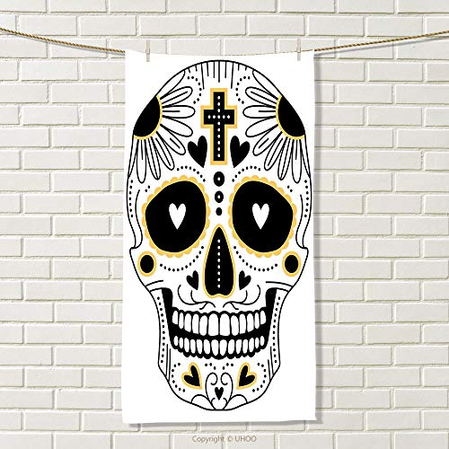 smallbeefly Day of The Dead Sports Towel Dia de Los Muertos Spanish Mexican Festive Hippie Style Print Absorbent Towel Black White and Yellow Size: W 35.5'' x L 13'' by smallbeefly