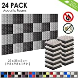 Arrowzoom New 24 Pack of 25 X 25 X 5 cm Pyramid Soundproofing Studio Absorbing Acoustic Foam Tiles Pads Wall Panels AZ-1034 (Black & Gray)
