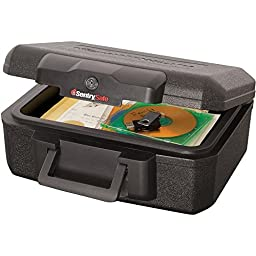 Sentrysafe 1200 Fire Safe Lock Box with two keys and a convenient carrying handle for easy transportation