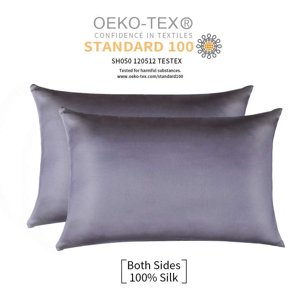 JiangJue 100% Mulberry Silk Pillowcases Set of 2 for Hair and Skin and Super Soft and Breathable Standard Size White/Queen/King