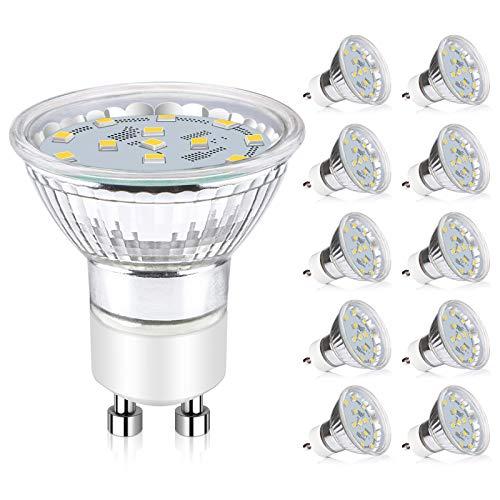 Ascher GU10 LED Bulbs, 50W Halogen Bulbs Equivalent, 4W, 400 Lumens, Non-Dimmable, 5000K Daylight White,120° Beam Angle, MR16 LED Light Bulbs, GU10 Base, Pack of 10