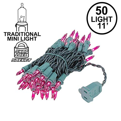 Novelty Lights 50 Light Purple Christmas Mini String Light Set, Green Wire, Indoor/Outdoor UL Listed, 11' -