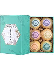 Aprilis Large Bath Bombs Gift Set, Organic and Natural Bath Bomb, Lush Fizzy Spa to Moisturize Dry Skin, Perfect Handmade Birthday Gift Ideas for Women Best Friends, Girlfriend and Kids, 6 x 4.0 oz