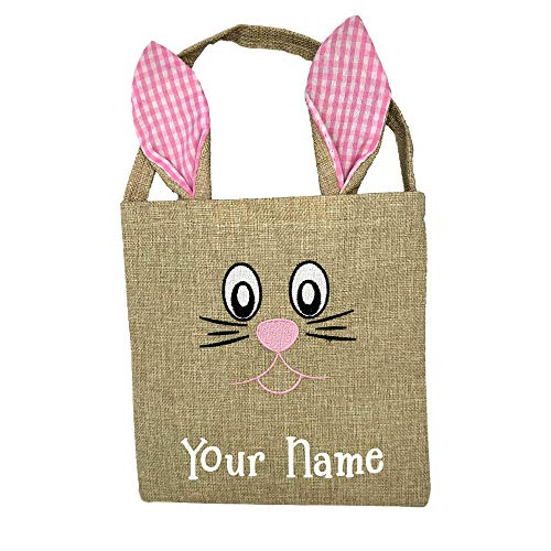 Personalized Easter Holiday Pink Plaid Burlap Embroidered Easter Bunny Tote Bag for Decoration for Egg Hunt Party with Custom Name ()