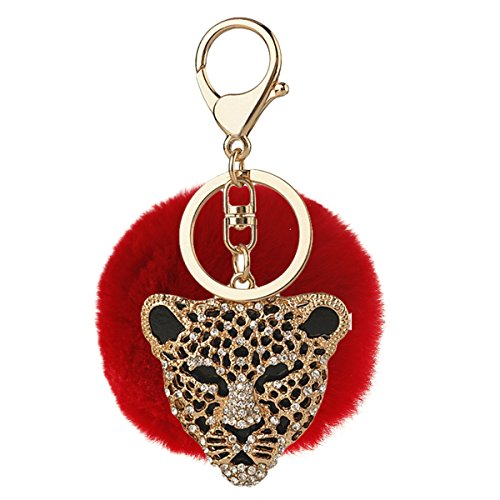 Price comparison product image Bling Bling Genuine Cool leopard Rhinestone Artificial Rabbit Fluffy Fur Ball Car Keychain Handbag (C12)