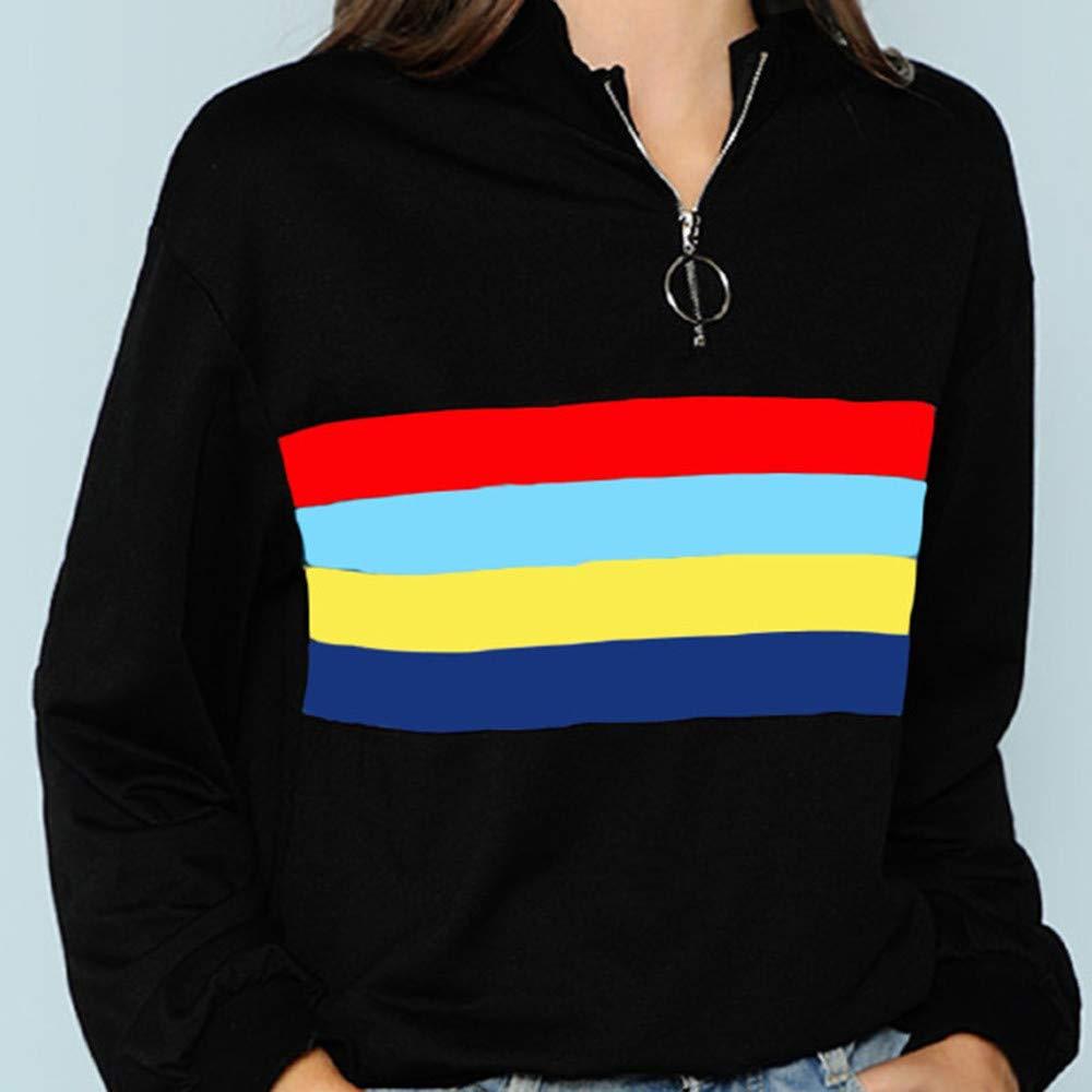 Rambling Womens Long Sleeve Top Zipper Color Stripe Short Sweatshirt