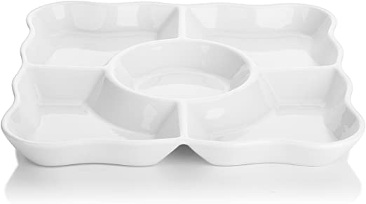 Set of 3 Serving Dishes Heart Shape White Porcelain Party Bowls Tableware
