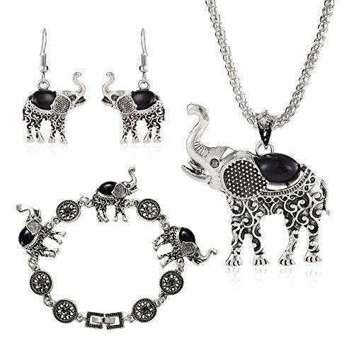 Miraculous Garden Womens Vintage Silver Ethnic Tribal Elephant Boho Pendant Necklace Drop Earrings Link Bracelet Jewelry Sets (Black)