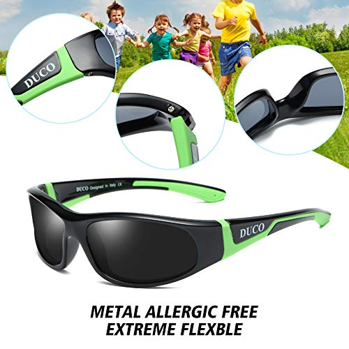 60abfb2657 Amazon.com  Duco Kids Sports Style Polarized Sunglasses Rubber Flexible  Frame For Boys And Girls K001  Clothing