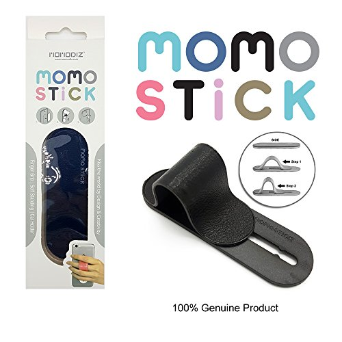 [Black Faux Leather] New MOMOSTICK: Stand and Finger Grip for Any Smartphones (iPhone & Android) with Reusable Sticky Gel Pad ()