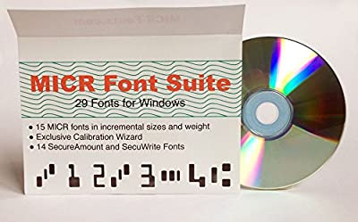 MICR Font Suite : 15 different MICR E13B Fonts, the exclusive MICR Wizard Calibration program, and 14 different Secure Fonts to print Payee and Amount.