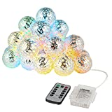 LEDGLE 20 LED Moroccan Lights Orb String Light Multicolor Decorative LED Fairy String Light, 8 Lighting Modes, IP65 Waterproof, Wireless Remote Controller Battery Powered for Bedroom Patio Wedding Par