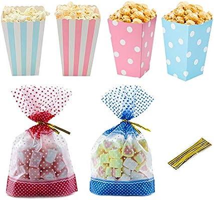 Cajas palomitas carton, lunares y bolsas de papel rayadas con palomitas de maíz Envase de dulces